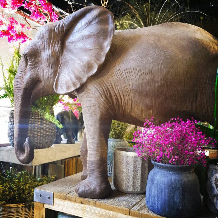 Home Decoration Ceramic Elephant Brown