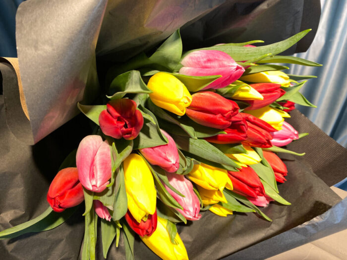 Bouquet Tulips Red Yellow Orange Pink