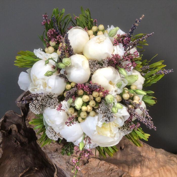Bridal Wedding Bouquet Lisianthus Safari Peonies Hypericum Lavender