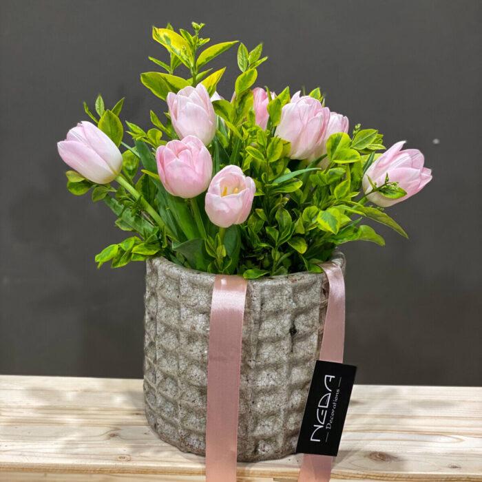 Bouquet Tulips Ceramic Cachepot 17cm