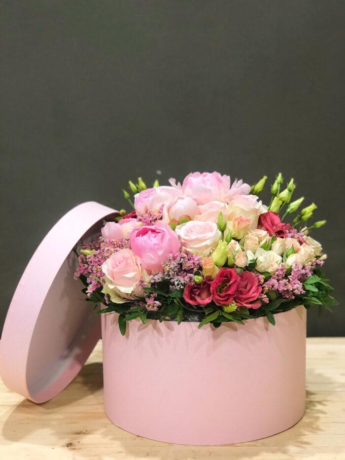 Ροζ Κουτί Μπουκέτο Λουλούδια