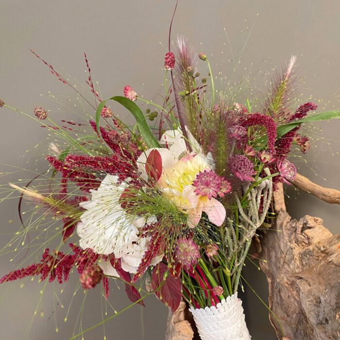 Bridal Bouquet Pennisetum Panicum Hydrangeas Dahlias