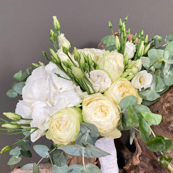 Bridal Bouquet White Roses Hydrangeas Lisianthus