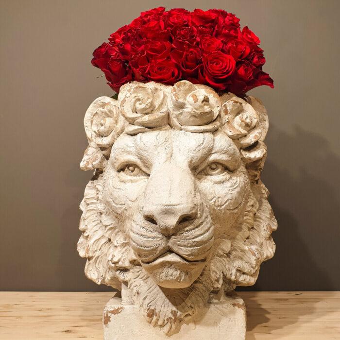 Bouquet Roses Cachepot Lion