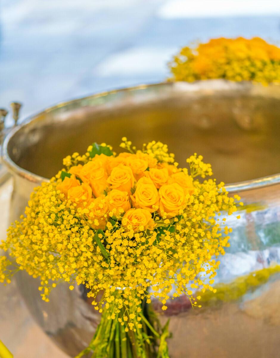 Baptismal Font Decoration Bouquets Yellow Gypsophila Roses