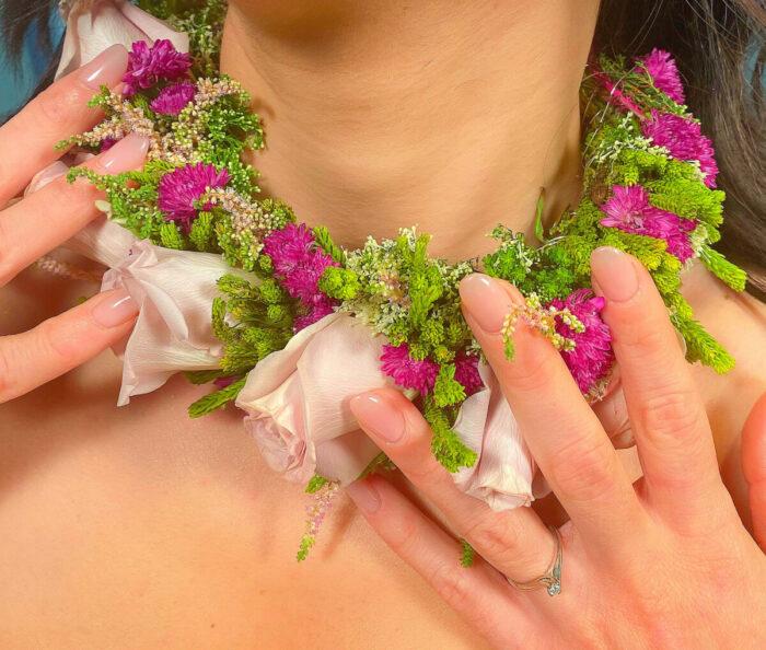 Περιδέραιο Νύφης Τριαντάφυλλα Πρασινάδες