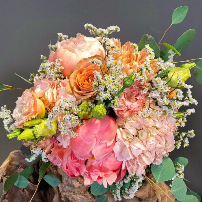 Bridal Bouquet Salmon Hydrangeas Peonies Lisianthus Limonium