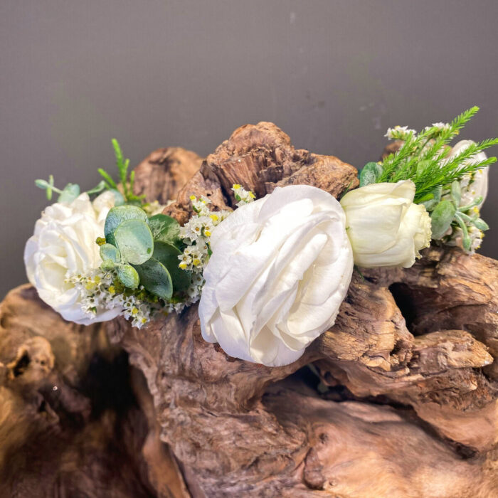 Bridal Hair Wreath Lisianthus Limonium Safari Eucalyptus
