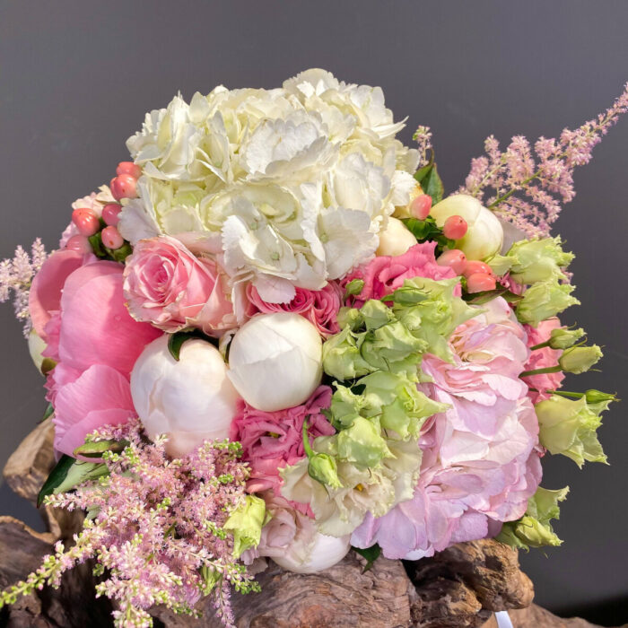 Ανθοδέσμη Γάμου Ροζ Λευκή